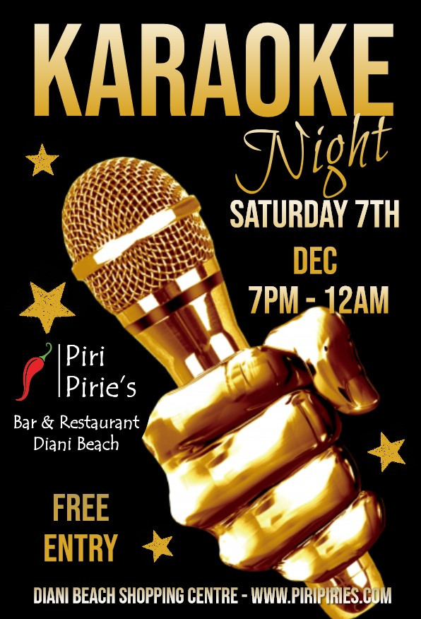Come and have a sing a long at the Piri Pirie's Karaoke Night Sat 7th Dec.