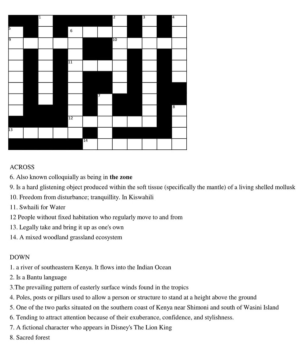 Piri Pirie's Crossword 1