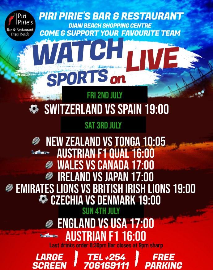 Live sports on our Big Screen at Piri Piries