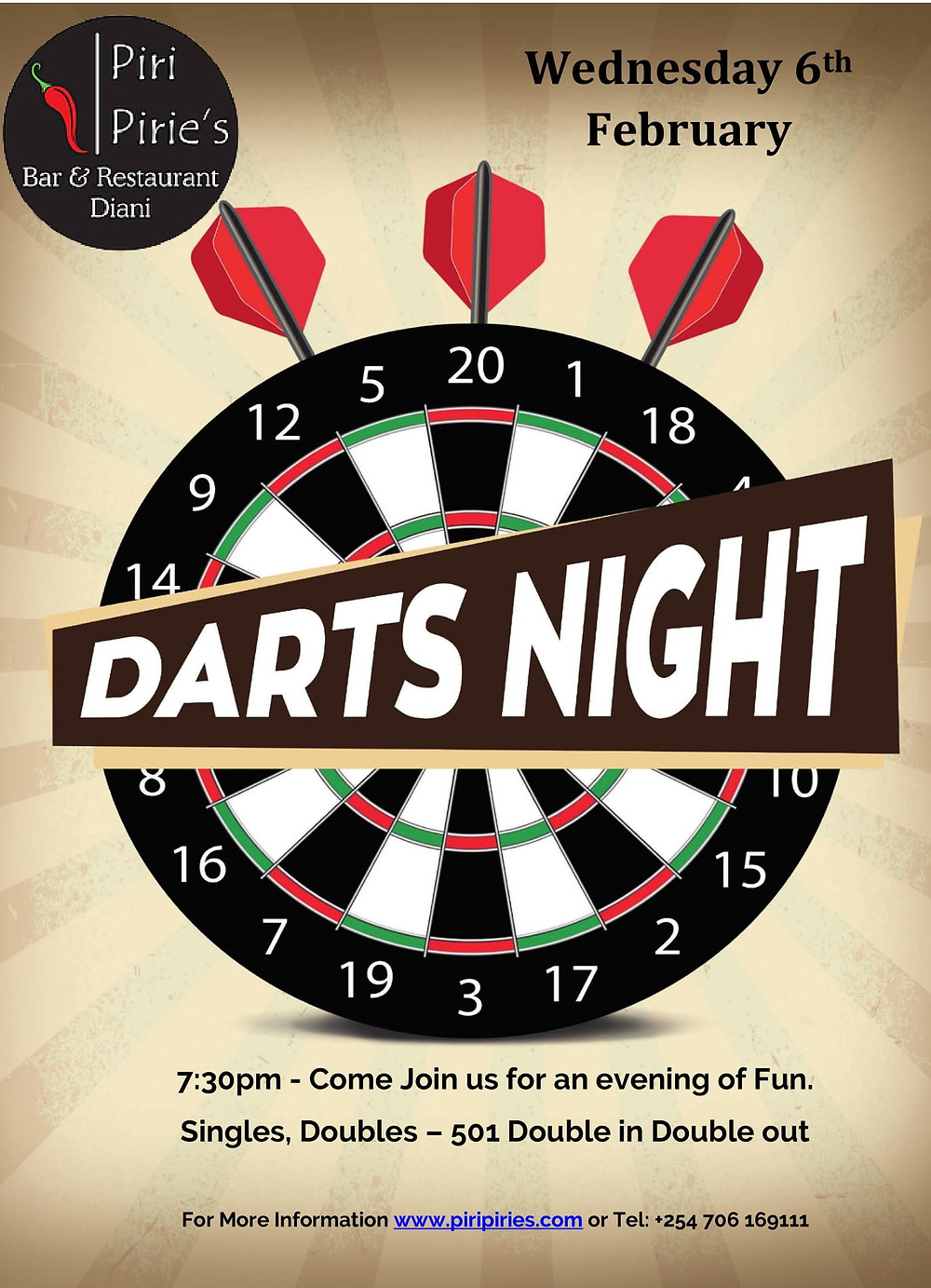 Wednesday 6th Feb Darts Night