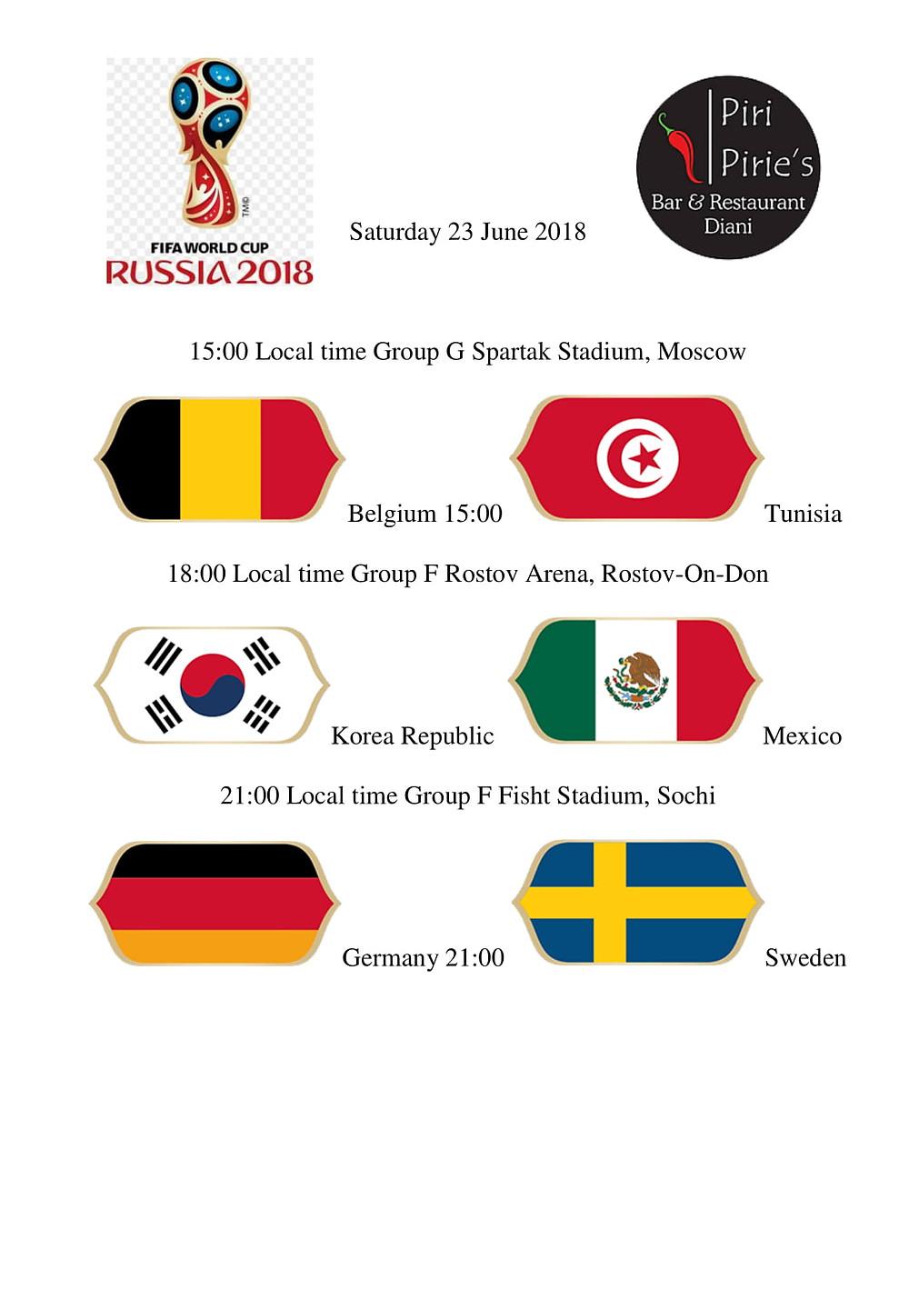 15:00 Belguim vs Tunisia, 18:00Korean Republic vs Mexico, 21:00 Germany vs Sweden