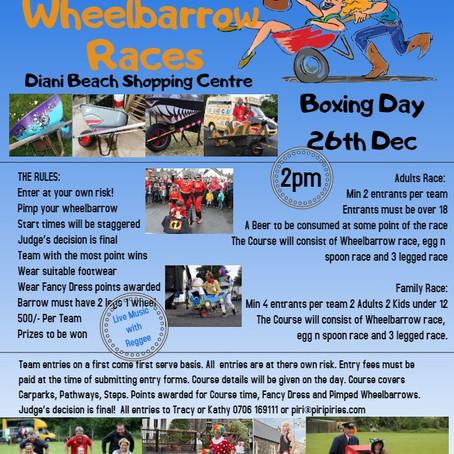 Wheel Barrow Racing 26th Dec 2pm