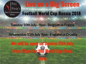 Tuesday 10th 9pm Belguim vs France, Wednesday 11th 9pm England Vs Croatia