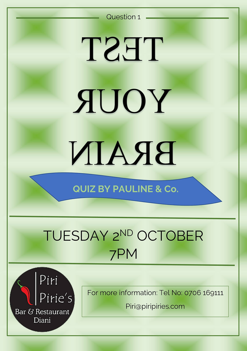 2nd Oct Quiz night @ Piri Pirie's By Pauline and Co