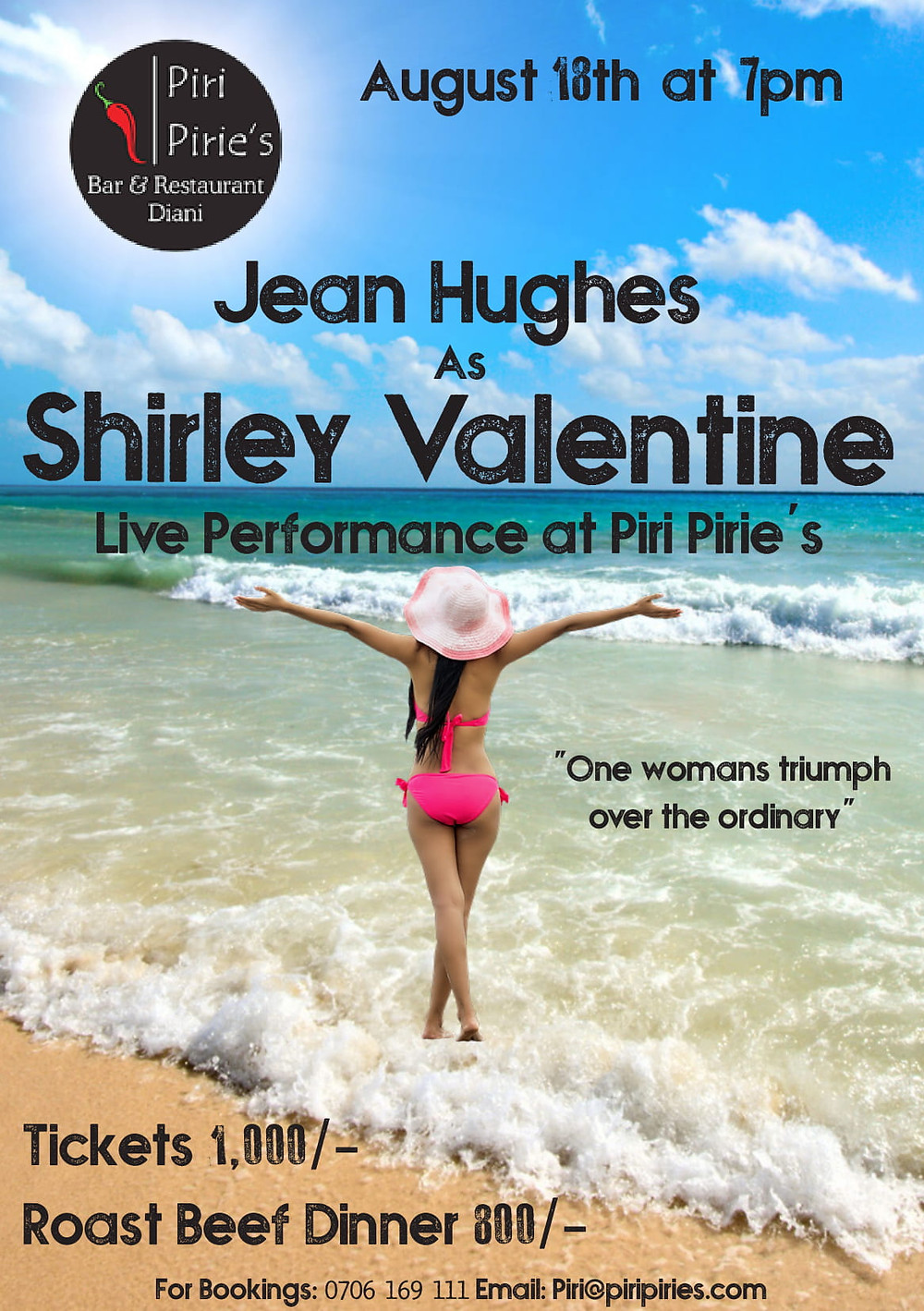 Saturday 18th Aug, Jean Hughes as Shirley Valentine.