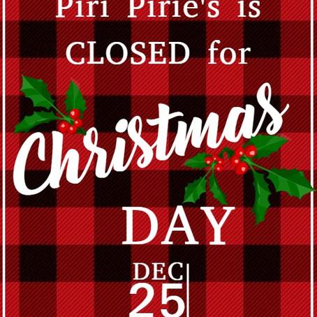 Closed 25th Dec
