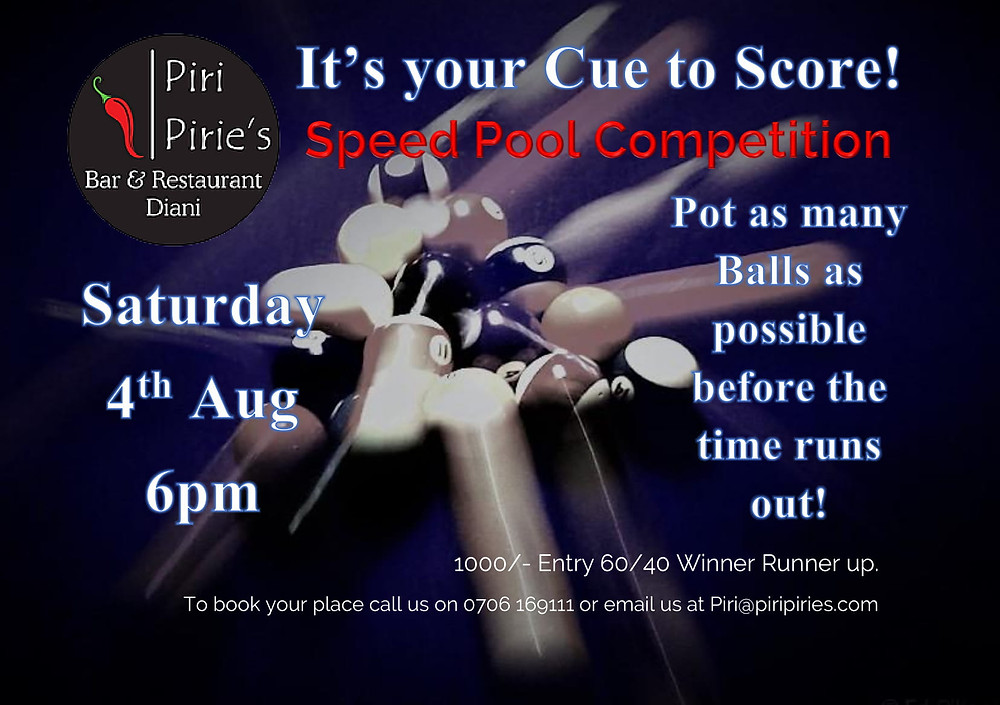 Speed Pool Tournament 4th Aug.