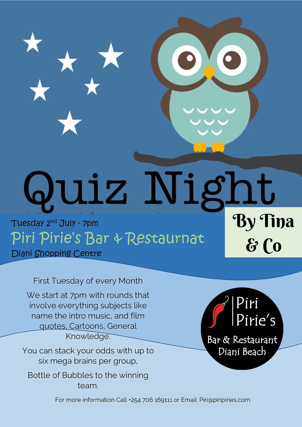 Tina's Quiz Night 2nd July 7pm At Piri Piries.