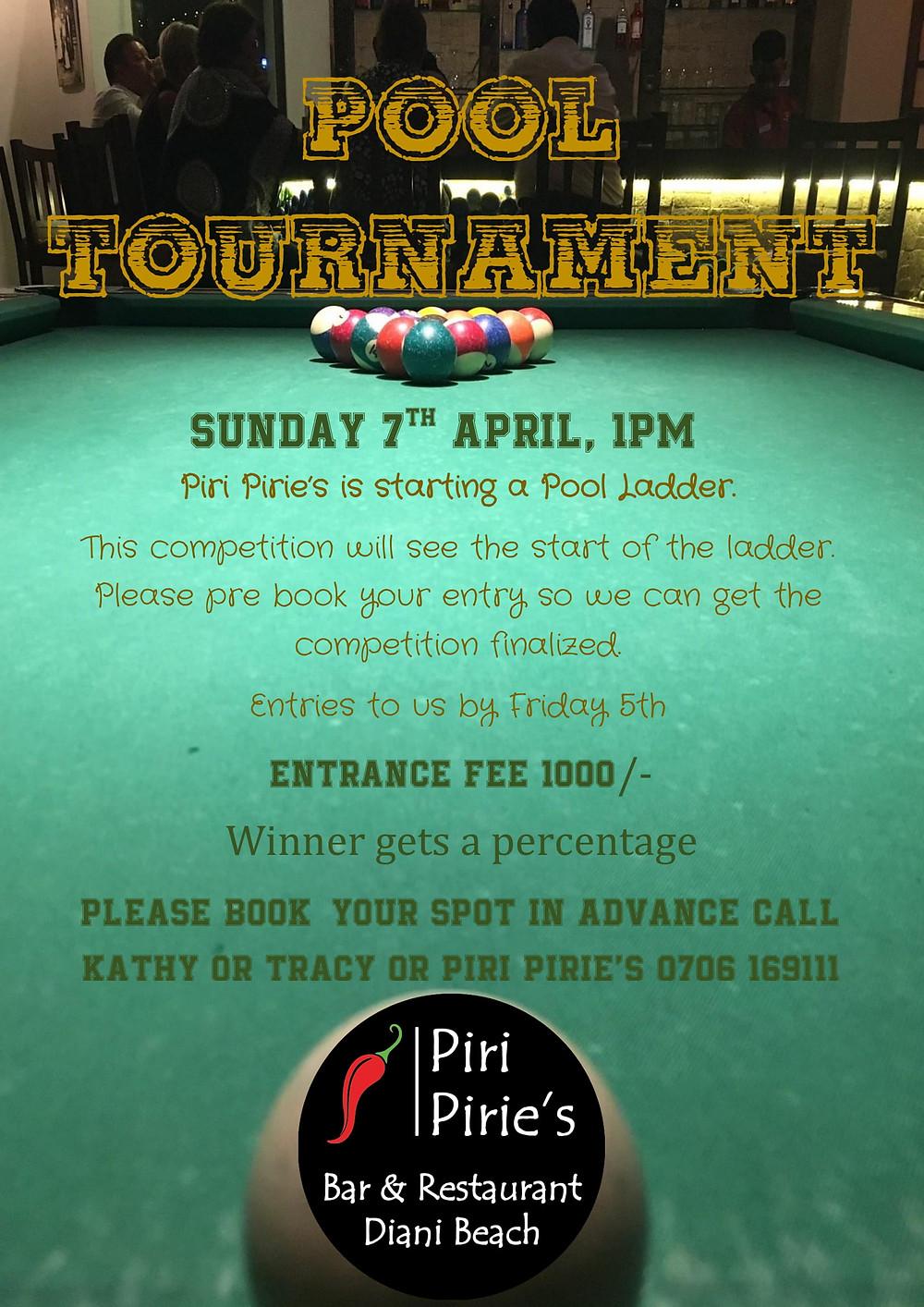 Pool Tournament at Piri Piries Sunday 7th April 1pm.