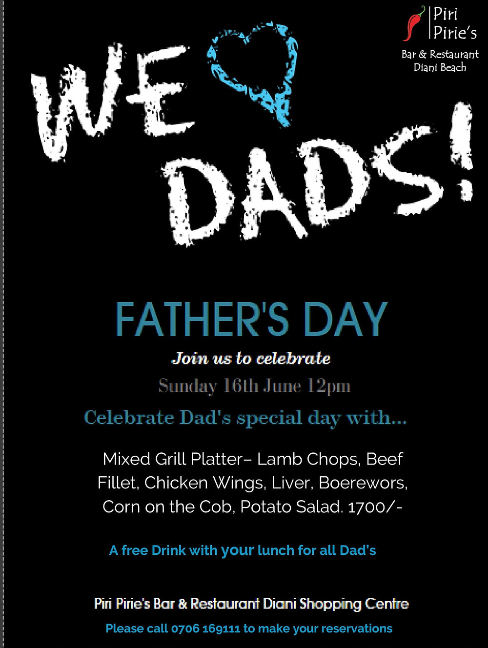 Fathers Day at Piri Pirie's Sunday 16th June