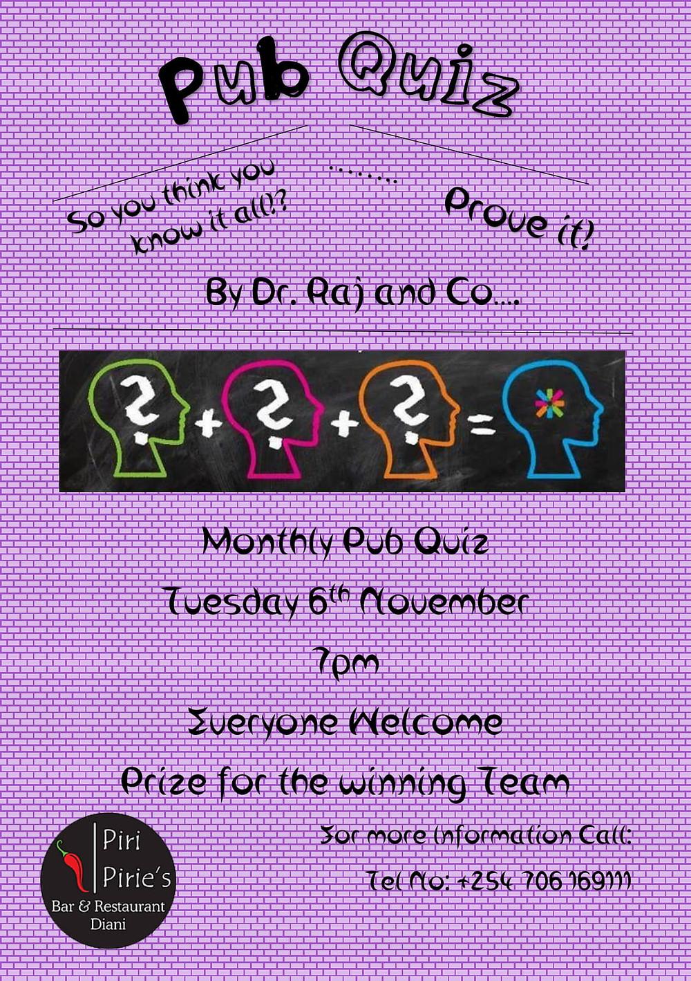 November Quiz Night by Dr. Raj