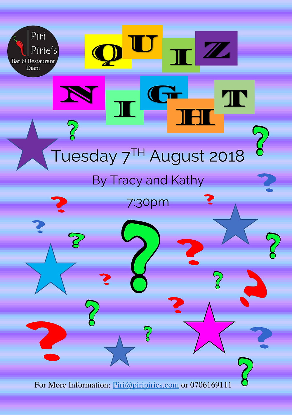 Quiz Night by Tracy and Kathy, 7th Aug 2018