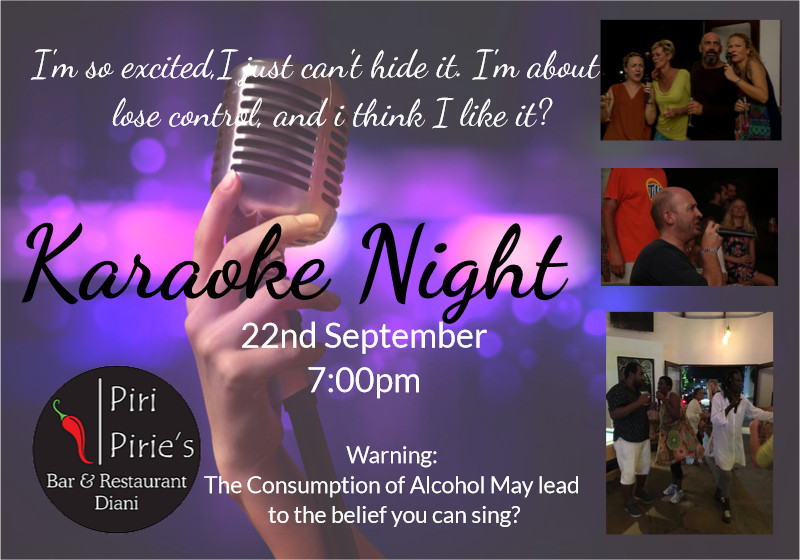 Karaoke 22nd Sept 7pm @ Piri Pirie's