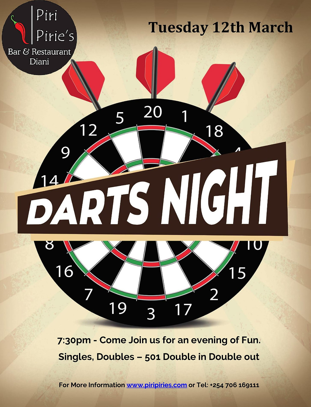Darts Challenge 12th March at Piri Pirie's