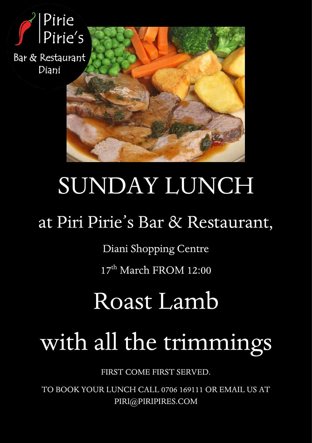 Traditional Roast Lunch at Piri Pirie's Sunday 17th March Roast Lamb.