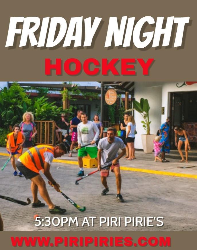 Hockey in the Piri Piries car park every Friday evening.