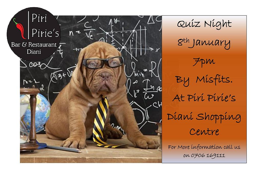 January 8th Quiz Night By Misfits 7pm @ Piri Pirie's