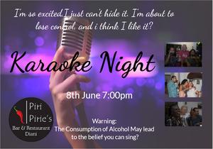 Karaoke Night 8th June 7pm
