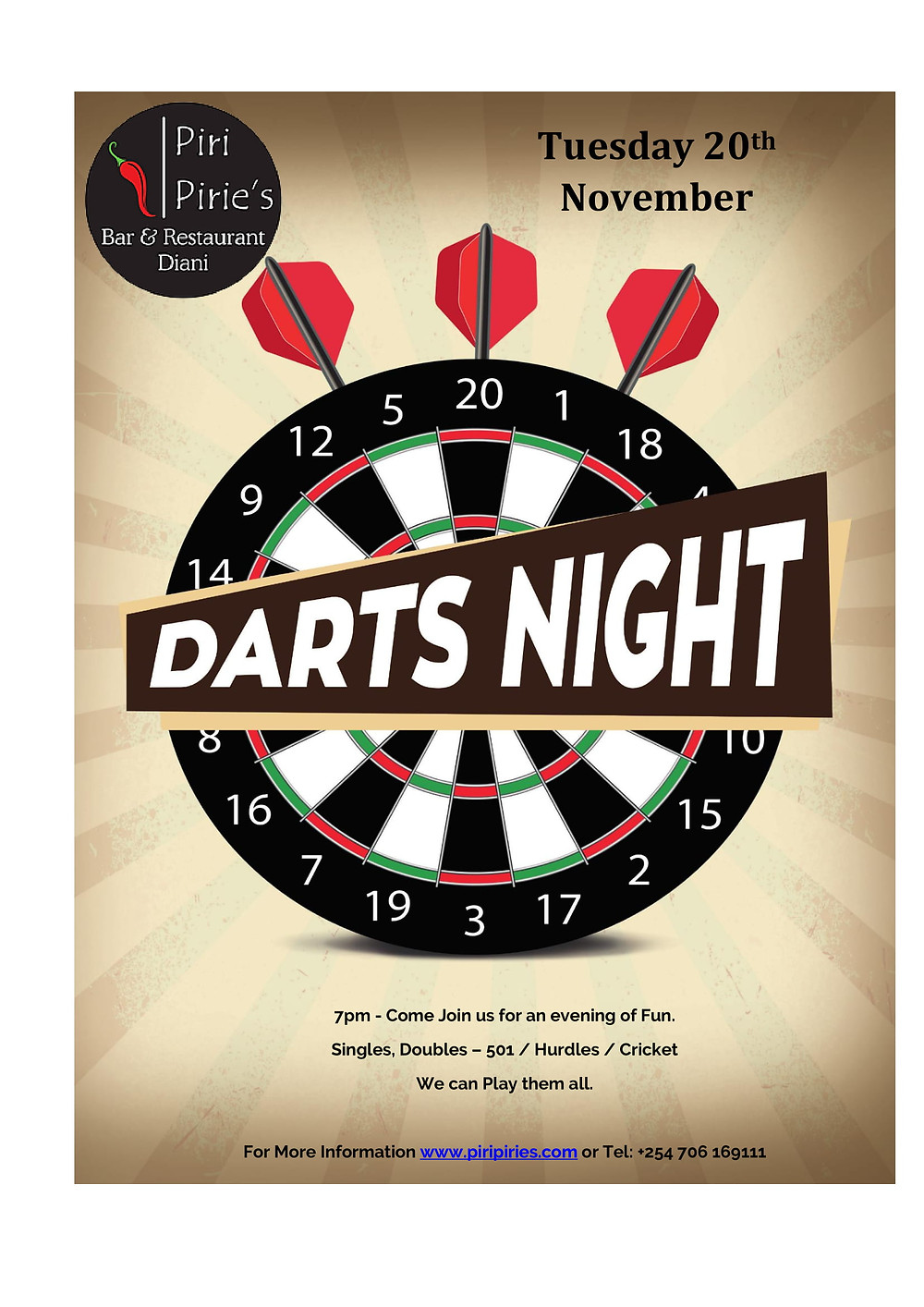 Darts nights at Piri Pirie's 20th November 7pm