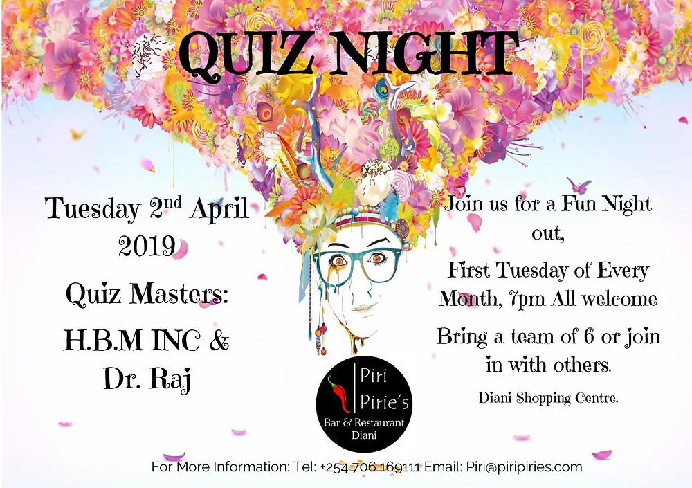 Frist Tuesday of every Month Quiz Night at Piri Piries
