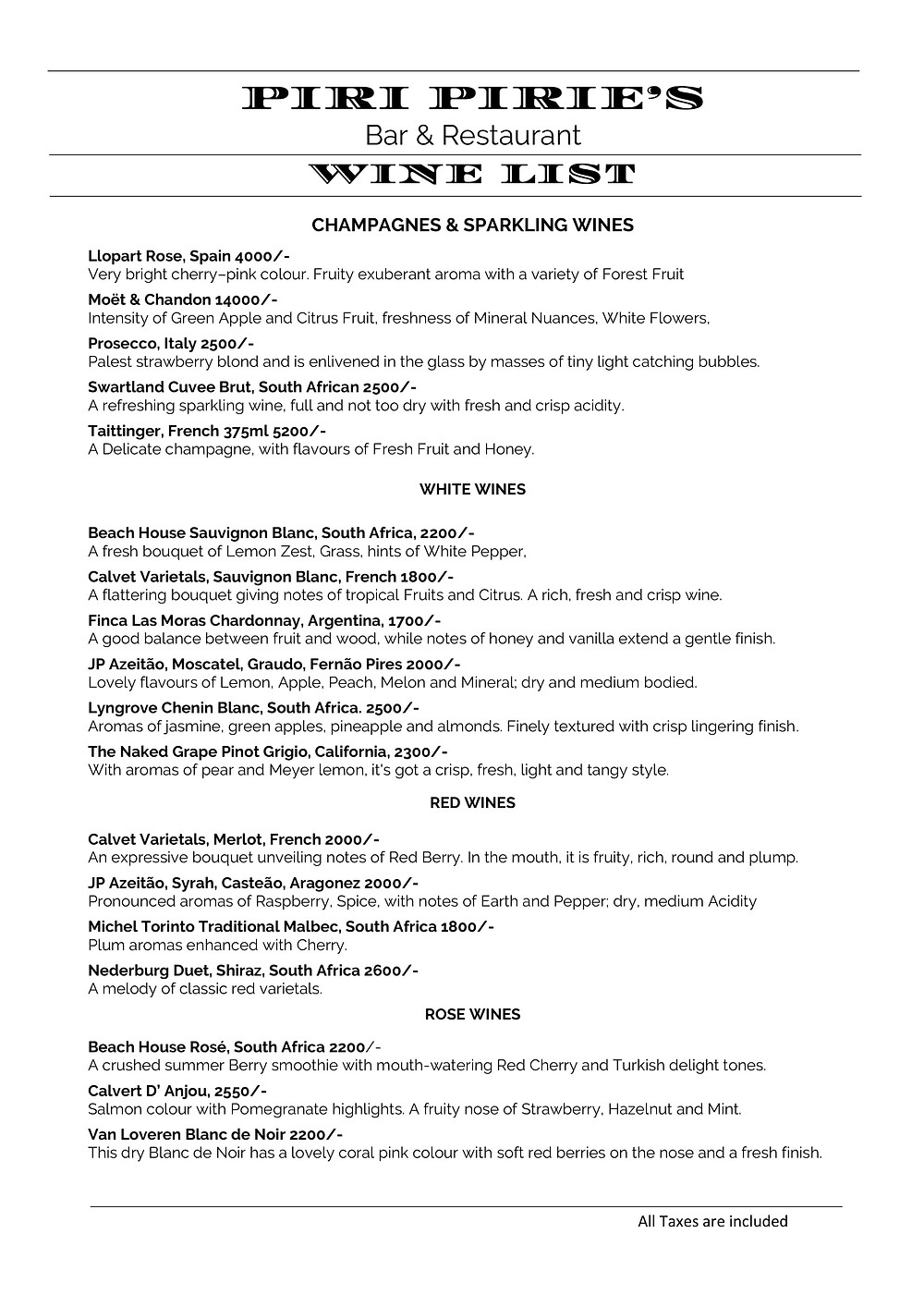 Piri Piries Wine List