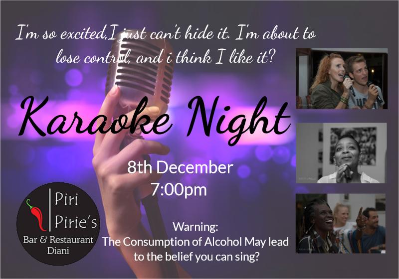 Karaoke Night at Piri Pirie's 8th December