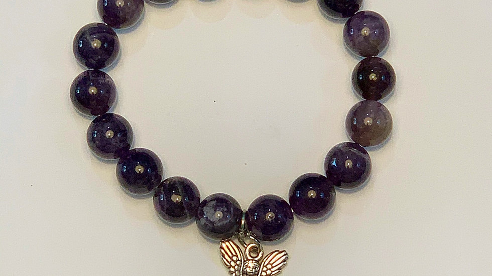 Amethyst angel bracelet