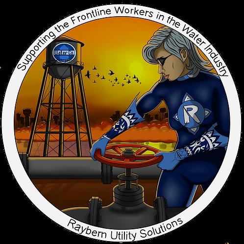 """3""""x3"""" Sticker-Frontline Water Worker (female)"""
