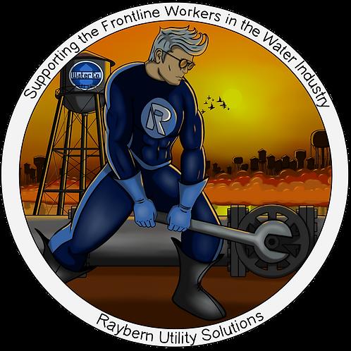 """5""""x5"""" Sticker-Frontline Water Worker (male)"""