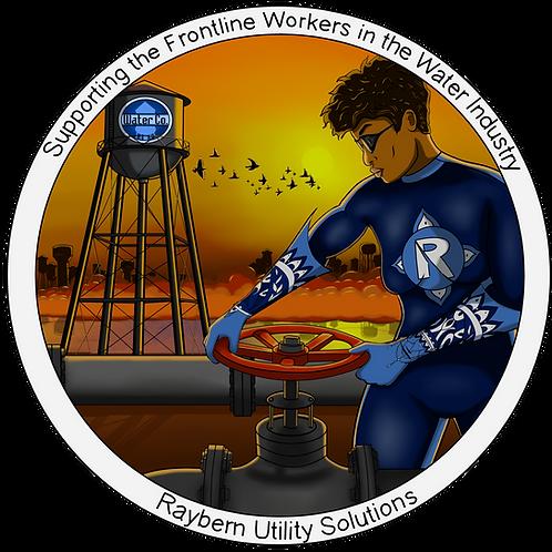"""5""""x5"""" Sticker-Frontline Water Worker (female)"""