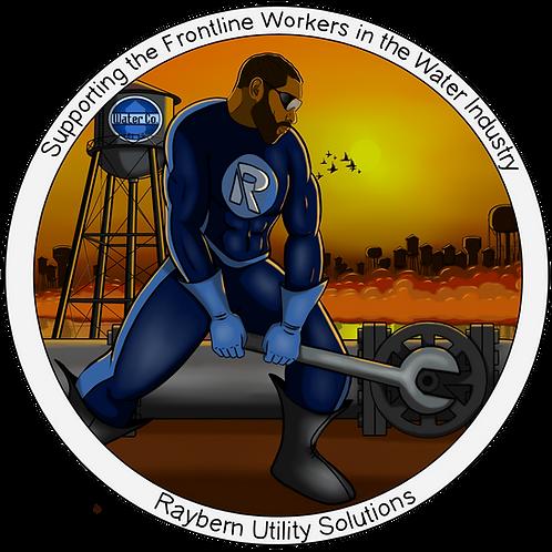 """4""""x4"""" Sticker-Frontline Water Worker (male)"""