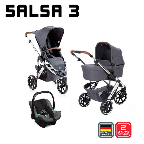 Salsa 3 ASPHALT Diamond (Carrinho + Bebê Conforto Tulip + Adaptador + Moisés)