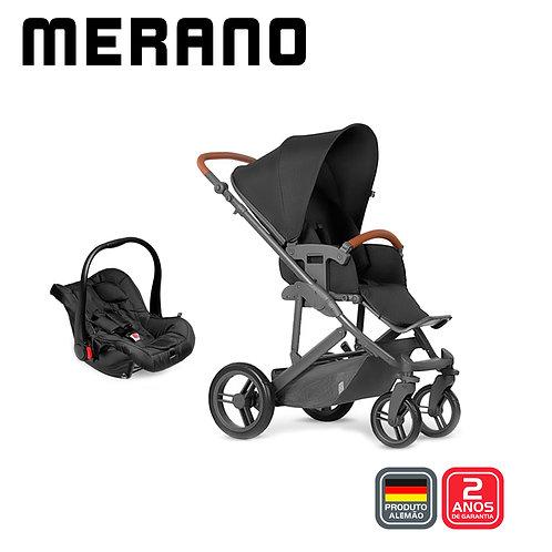 Merano 4 Woven BLACK (Carrinho + Bebê Conforto Risus + Shopping Bag)