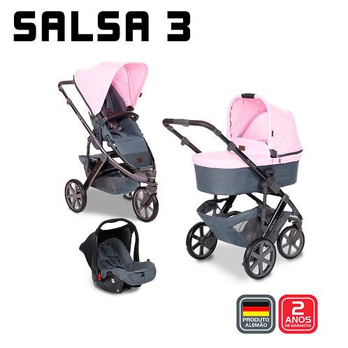 Salsa 3 ROSE (Carrinho + Moises + Bebê Conforto + Adaptador) - PROMOÇÃO