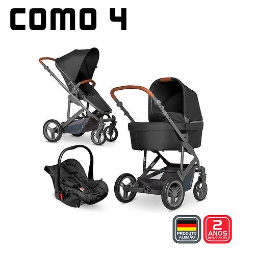 COMO 4 Woven BLACK (Carrinho + Moisés + Bebê Conforto Risus Black+ Bolsa)