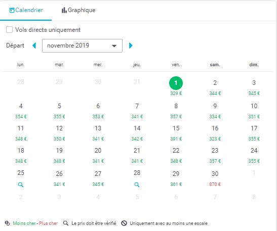 Skyscanner : le comparatif des prix en fonction de chaque date du mois