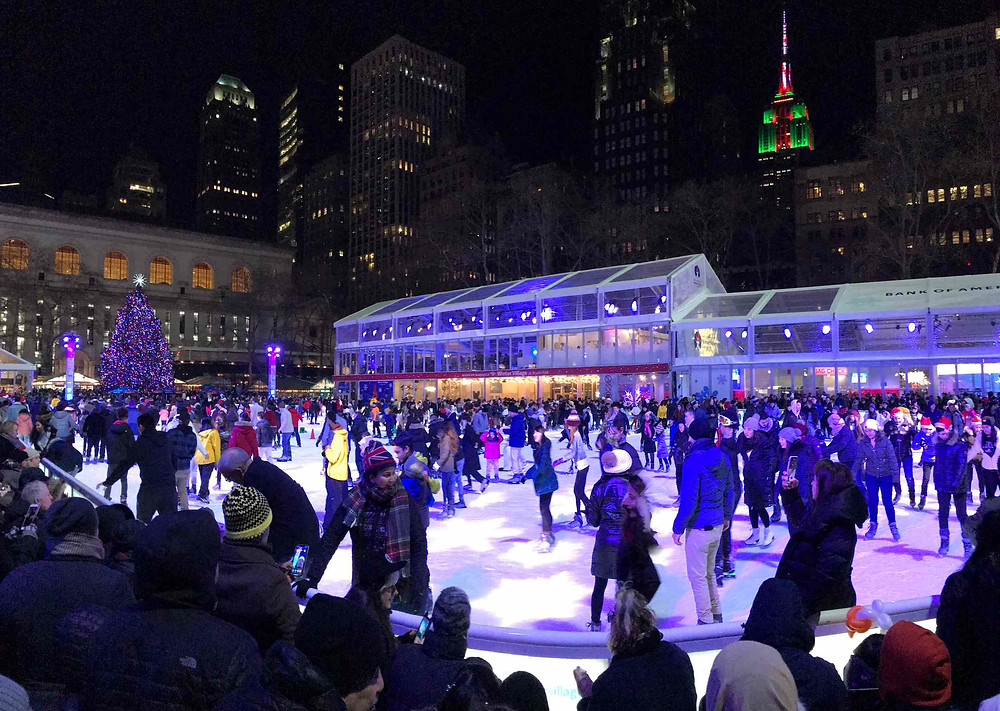 Patinoire ice skating Bryant Park Empire State Building