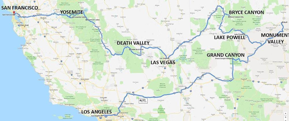 itinéraire road trip 15 jours Ouest américain