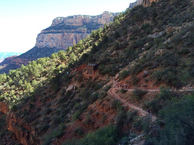 Le chemin qui descend dans Grand Canyon