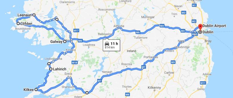 L'itinéraire de notre road trip en Irlande