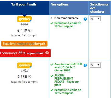 Différents choix de tarif et de condition sur Booking