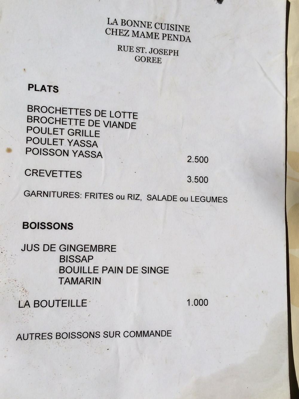 Le menu de chez Mame Penda