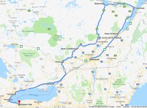 Notre itinéraire dans l'est canadien