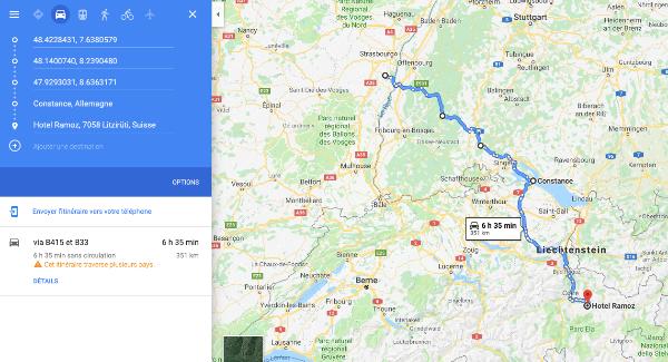 La fonction itinéraire de Google Map