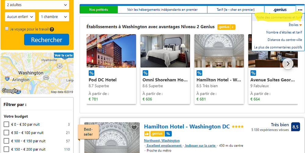 Où trouver l'option Trier par Notes sur booking.com