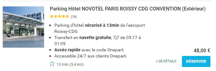 Onepark parking proche aéroport