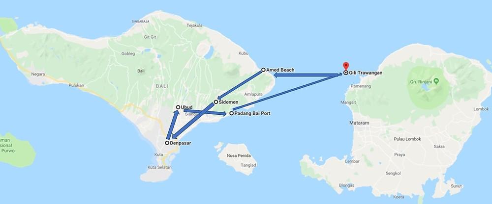 Notre parcours à Bali