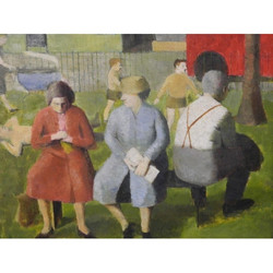 Reginald Brill (British,1902-1974), Figures seated in a park, oil on board