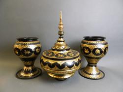 Three Thai Black Lacquer Bowls