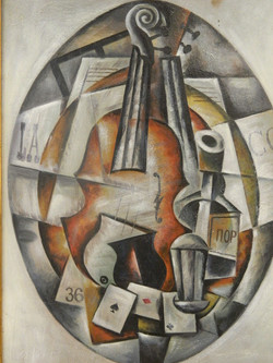 Early C20th Russian, Cubist violin, oil on panel